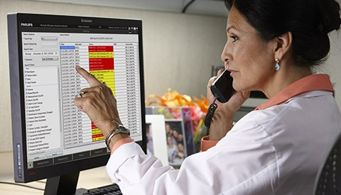 a clinician monitors massive patients care data